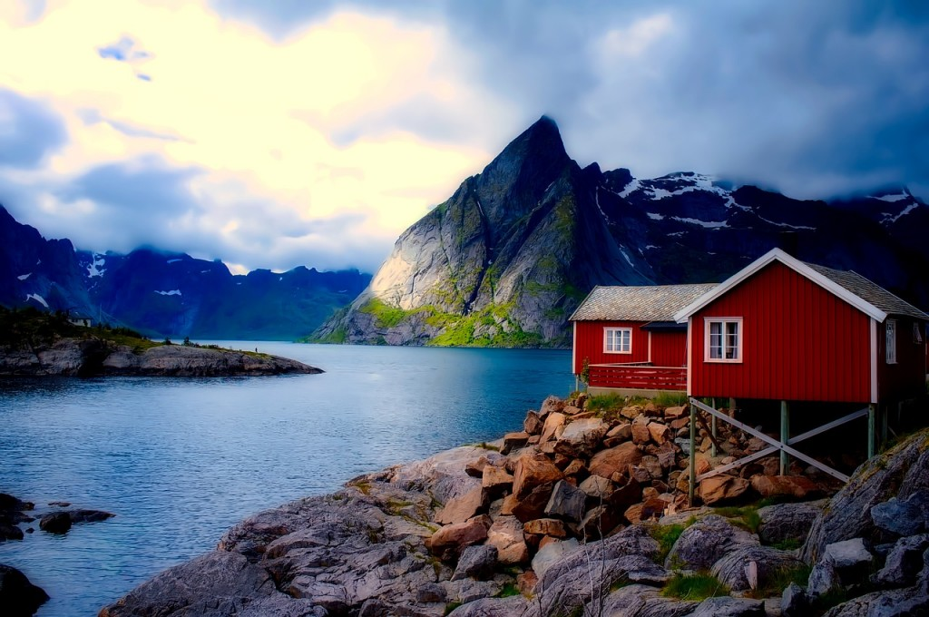 Water mountain and cottage landscape of Norway