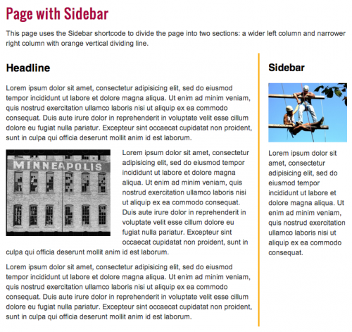 page with sidebar