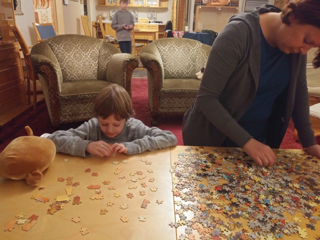 Friday night puzzle building.